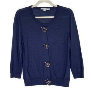 Boden Navy Wool Cardigan Sweater Size 10 12